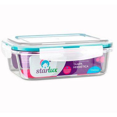 Starlux Ud Pote de Vidro Retangular com Tampa Hermetica 1040ML com 1 Unidade