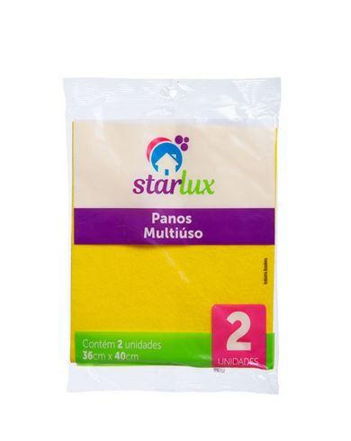 Pano De Limpeza Multiuso 40X36CM Amarelo 1 Pacote Com 2 Unidades Starlux Limpeza
