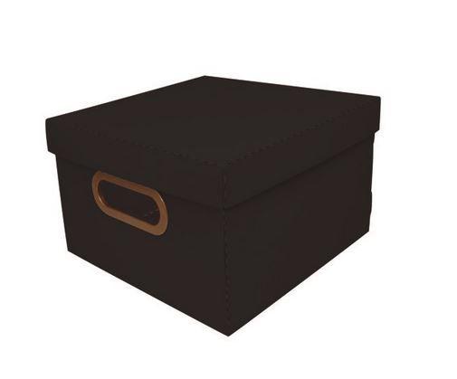 Caixa Organizado Linho Pequena Preto 25x25x15CM) 1 Unidade Starlux Utilidades