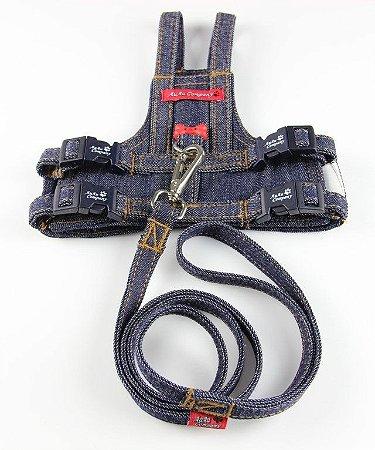 Guia com Colete Peitoral para cachorro Jeans
