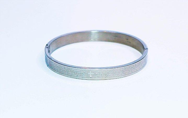 Pulseira Bracelete Pai Nosso - Ródio Branco