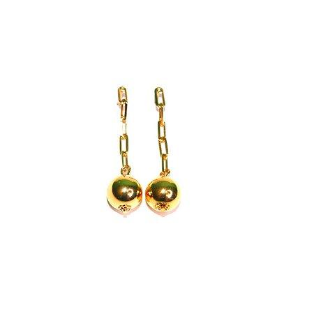 Brinco Correntaria Esfera - Gold