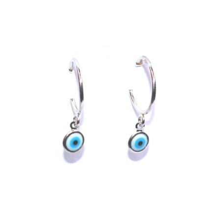 Argola Olho Grego - Ródio Branco