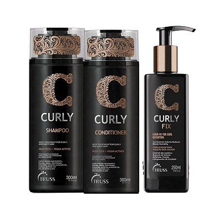 Truss Curly Shampoo 300ml + Condicionador 300ml + Fix 250ml