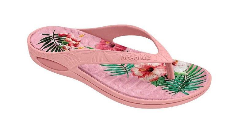 Chinelo Anatômico para Esporão Lilly Cor Flamingo (Rosa com Floral) - Boaonda