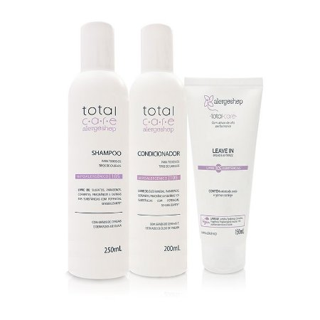 Kit Shampoo + Condicionador + Leave In Hipoalergênico Total Care Alergoshop