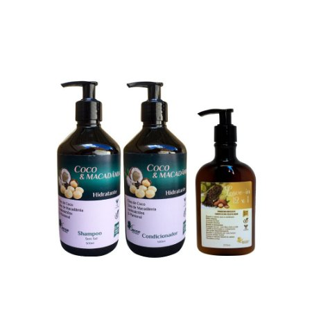 Kit Vegano Baume Coco e Macadâmia (3 produtos) Finalizador