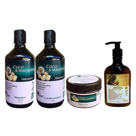 Kit Vegano Baume Coco e Macadamia Nutrição (4 Produtos)