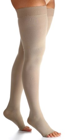 Meia Coxa 7/8 - Select Comfort Premium - Sigvaris - 20-30 mmHg - Ponteira Aberta - Cor Natural