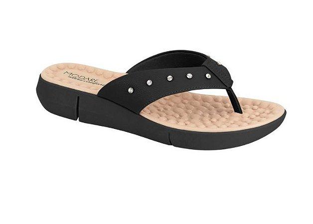 Sandália Chinelo Anabela - Tamanco - Ultra Conforto Modare - Preto Com Cristal  Ref. 7142.117