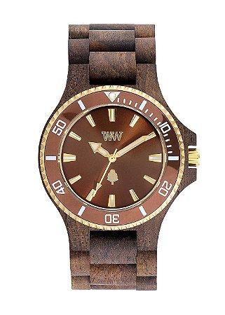 Relógio de Madeira WeWOOD Date MB Choco Rough Brown