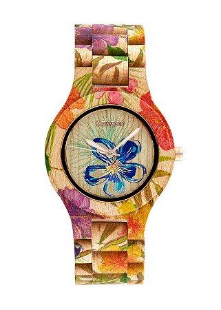 Relógio de Madeira WeWOOD Antea Flower Beige