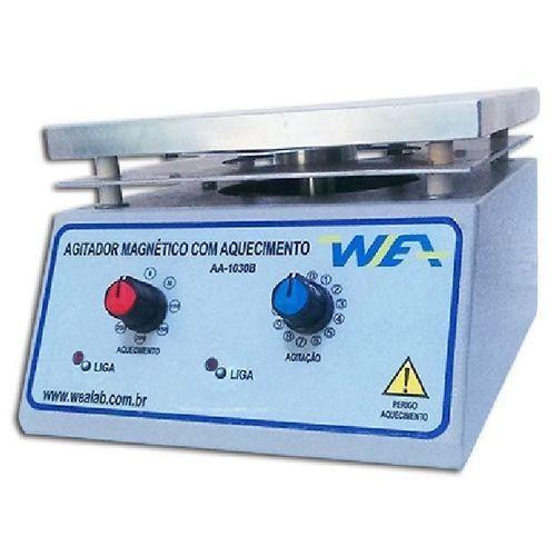 AGITADOR MAGNETICO COM AQUECIMENTO 300ºC PLATAFORMA EM ALUMINIO 170X170MM CAPACIDADE DE AGITAÇÃO DE 1-10L 127V