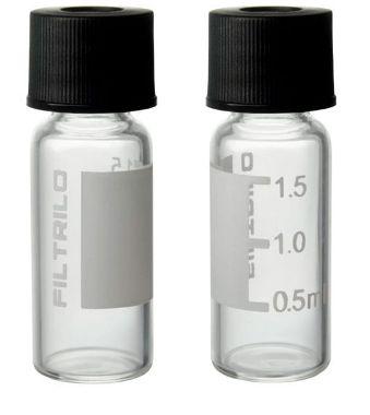 Kit Vial Incolor - Boro - Rosca 8mm + Tampa com Septo em PTFE/SILICONE Pré-Slit