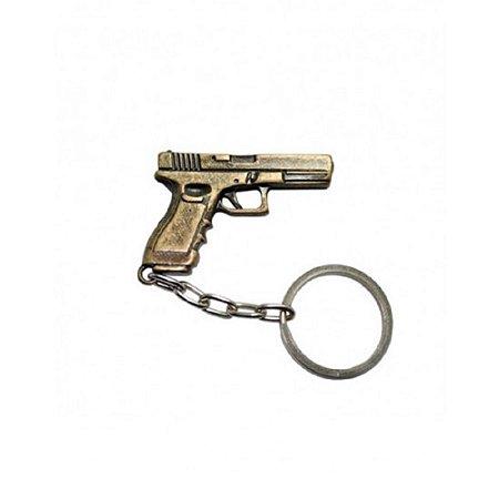 Chaveiro Pistola Glock Bélica - Dourado