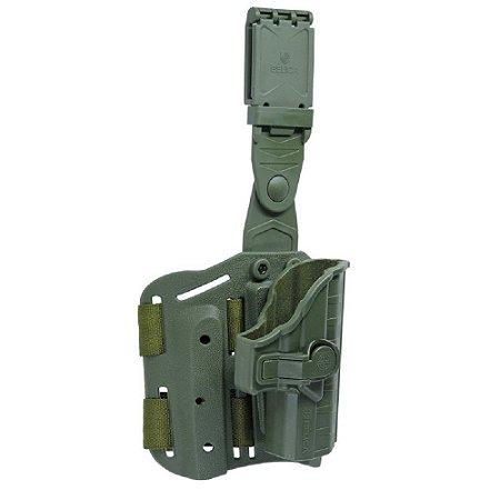 Coldre Beretta II Em Polímero Bélica Destro P/ Coxa - Verde