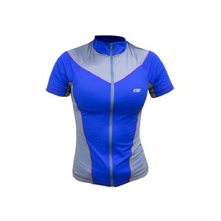 Blusa de Ciclismo Athlete Feminina Sol Sports - Azul e Cinza