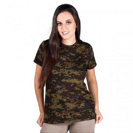 Camiseta Feminina Soldier Camuflada Bélica Digital Argila