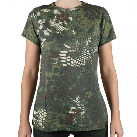 Camiseta Feminina Soldier Bélica Camuflada Mandrake