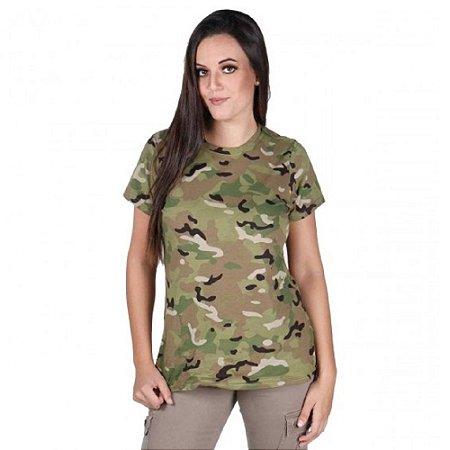 Camiseta Feminina Soldier Bélica Camuflada Multicam