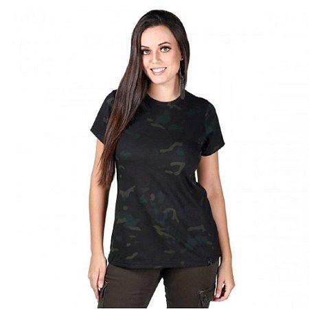 Camiseta Feminina Soldier Camuflada Bélica Multicam Black