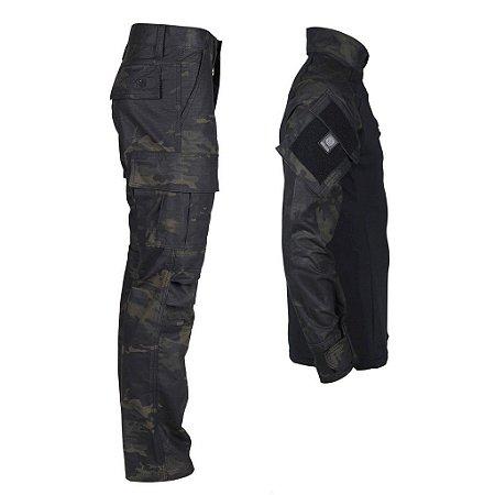 Farda Tática Bélica - Calça e Combat Shirt Camuflada Multicam Black
