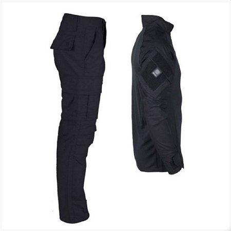 Farda Tática Bélica - Calça e Combat Shirt Preto