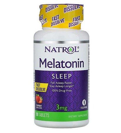 Melatonina Natrol Dissolução Rápida Morango 3mg 90 Tablets