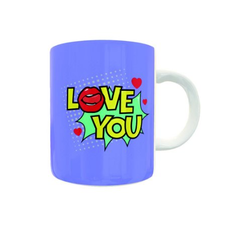 Caneca de Porcelana Love You Pop Art