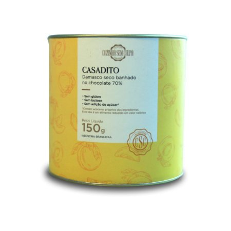 Casadito Damasco banhado ao chocolate 70% - Lata 150g