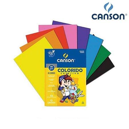 PAPEL CANSON COLORIDO CRIATIVO 80G A3 COM 8 CORES 32FLS
