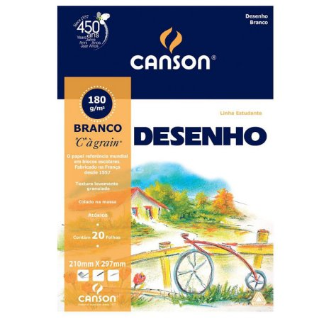 BLOCO CANSON DESENHO 180 GR BRANCO 20FL
