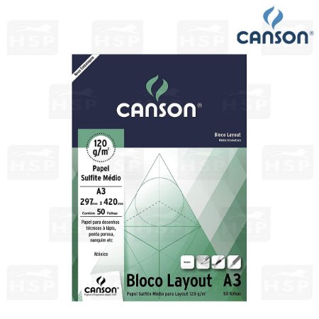 BLOCO CANSON LAY OUT 120GR A3 50FL