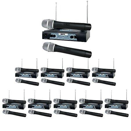 Kit 10 Microfones sem Fio TK-V202 VHF Onyx