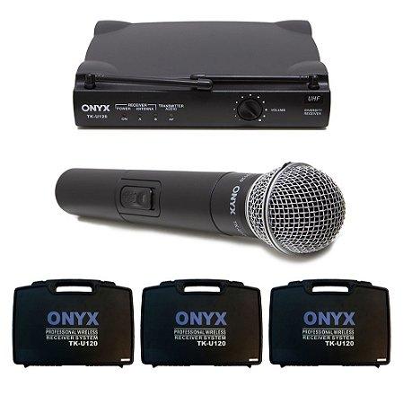 Kit 3 Microfones sem Fio TK-U120 UHF Onyx