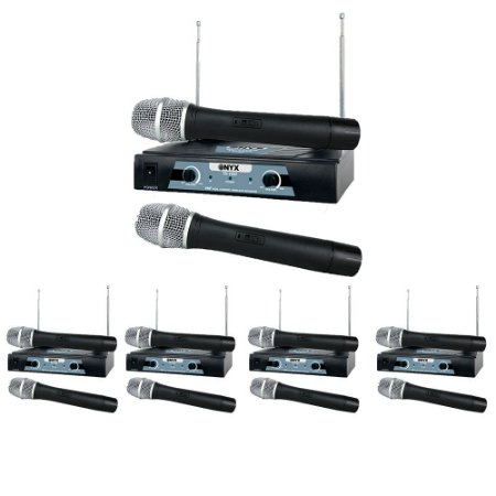 Kit 5 Microfones sem Fio TK-V202 VHF Onyx