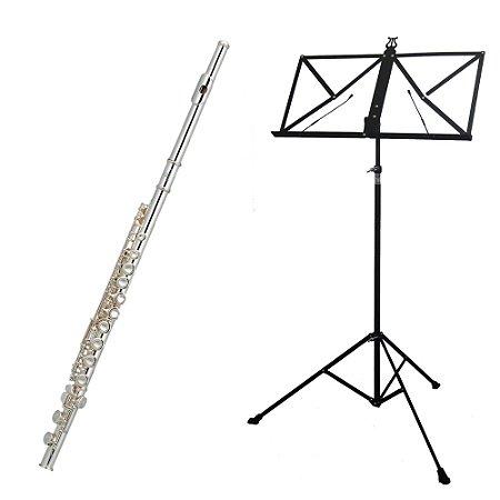 Kit Flauta Transversal FL-200ES New York + Estante de Partitura S2