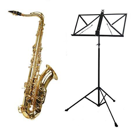 Kit Saxofone Tenor TS-200 Laqueado New York + Estante de Partitura S2