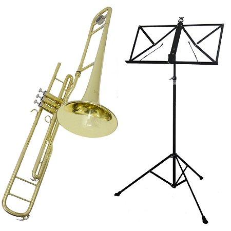 Kit Trombone de Pisto Tenor TB200PD New York + Estante de Partitura S2