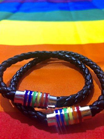 Pulseira LGBT Couro
