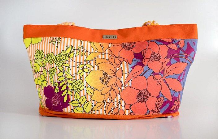 Shopping bag floral laranja