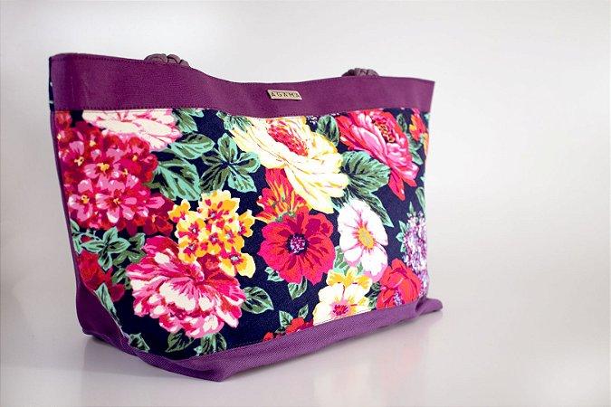 Shopping bag floral roxa