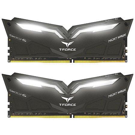 Memória RAM Team Group Night Hawk LED White DDR4 16GB 2x8GB 3000Mhz
