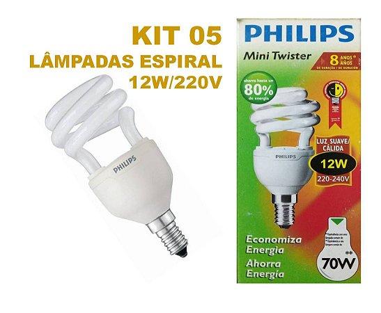 Kit 05 Lâmpada Espiral 12w E14 Branco Quente 220 V Philips