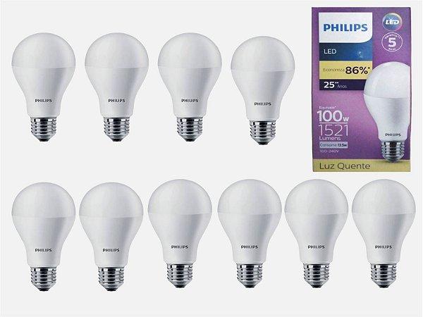 Kit 10 LED Bulb 13.5W (100W) E27 3000K (Quente) A67 100 -240 V PHILIPS