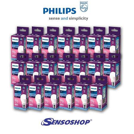 Kit 20 Lâmpadas Led Bulbo Philips 8w = 60w 806lm Bivolt Casa