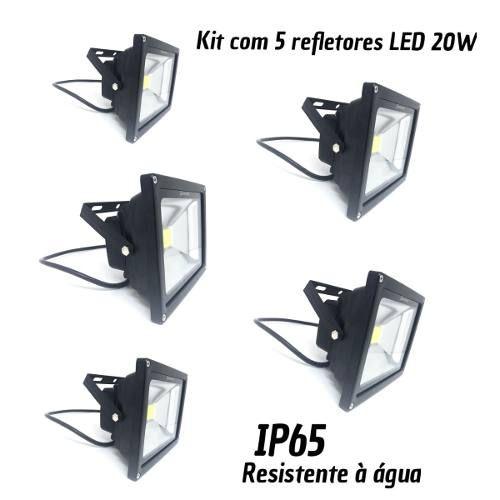 KIT 5 Holofotes Refletores De Led 20w Frio Resistente À Água