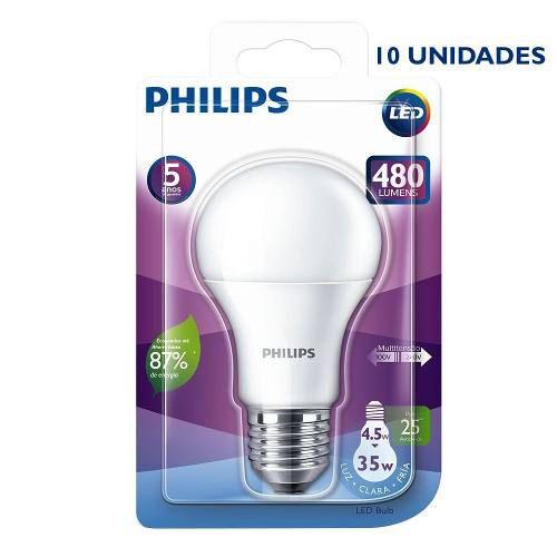 Kit 10 Lâmpadas Led Bulbo Philips 4,5w 480lm Bivolt Branco Frio