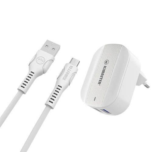 KIT CARREGADOR COM DUAS ENTRADAS + CABO MICRO USB
