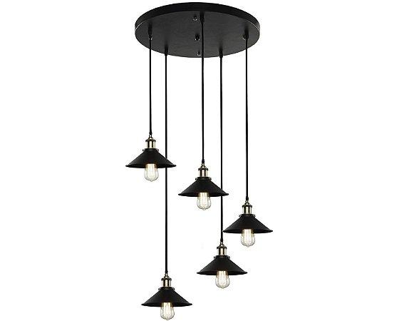 Pendente Industrial Preto 4107 - 5 Lâmpadas